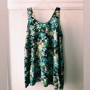 VINTAGE short floral green dress, xs